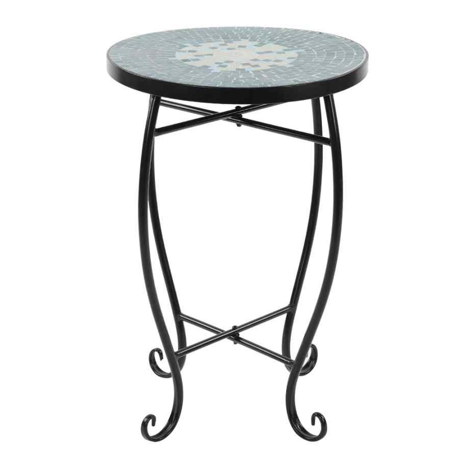 - Mosaic Painted Glass Iron Art Plant Stand Round Side Accent Table