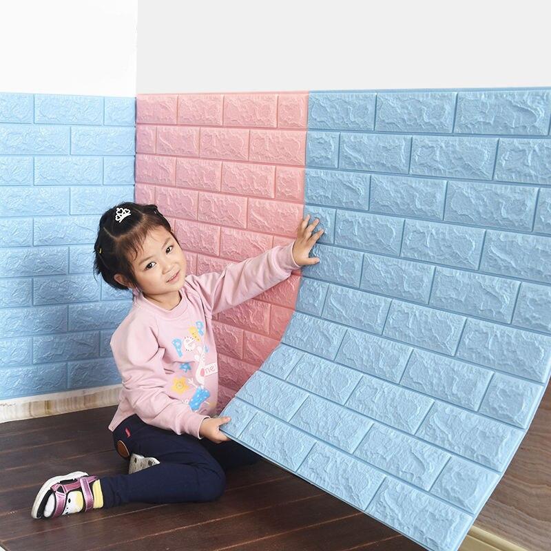 Self-adhesive Wallpaper 3d Wall Sticker Brick Pattern Wallpaper Wall Decoration Crash Foam Bedroom Warm Decoration Sticker