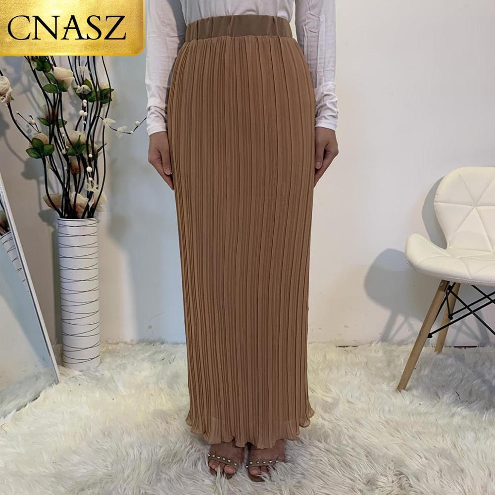2020 Latest Fashion Plain Pencil Pleat Skirt Muslim Women Chiffon Pleated Khaki Skirt Middle East Islamic Skirt Dubai Turkey