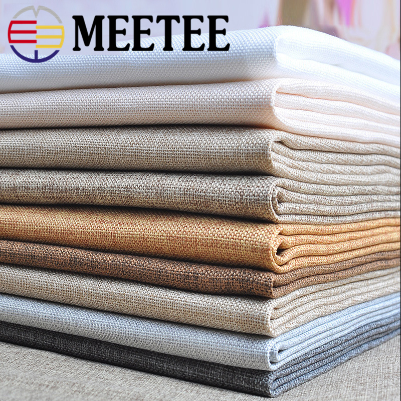 Meetee 50/100x150cm <font><b>Cotton</b></font> <font><b>Linen</b></font> Fabric DIY Patchwork Sewing Sofa Curtain Tablecloth Bags Home Wedding Table Party Fabric image