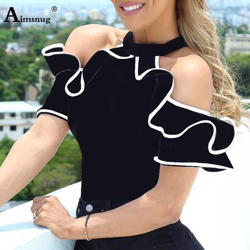 2019 été femmes élégant loisirs haut décontracté dames sans manches col montant chemise contraste reliure volants garniture Blouse blanche