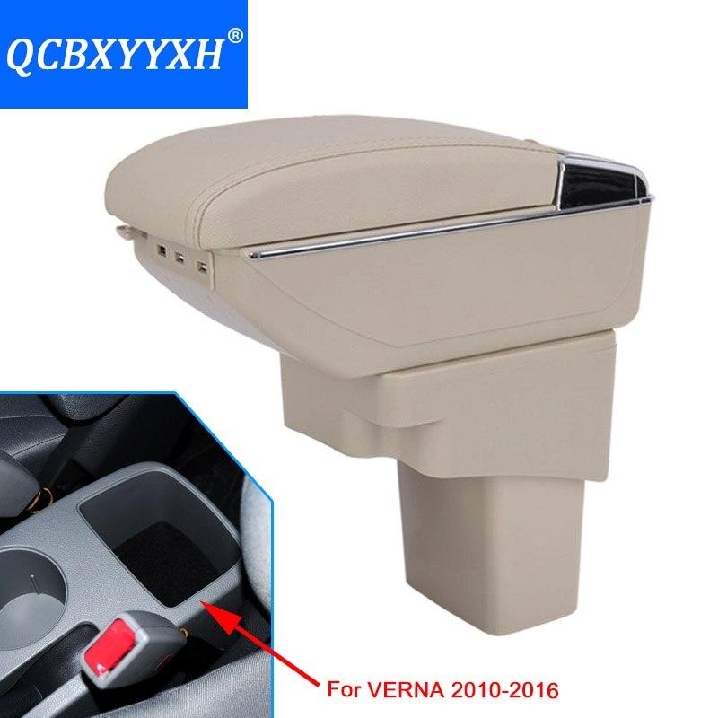 Para hyundai verna 2010-2016 carro-estilo do carro usb apoio de braço central loja conteúdo caixa de armazenamento com suporte de copo cinzeiro acessórios