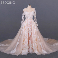 Charming Wedding Dress Lace A line Newest Princess long Sleeves V neck Detachable Train Bride Dress Plus Size Wedding Gown