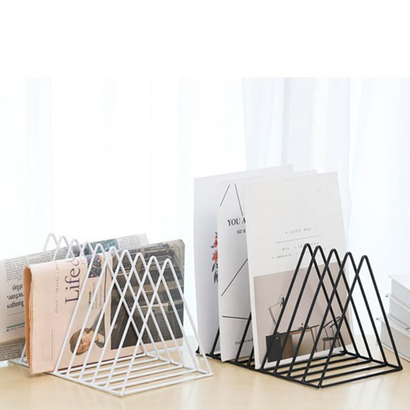 Solid 9 Grid File Storage Shelf Book Stand Desktop Nordic Wrought Iron File Book Holder Office Desk Storage Book Organizer