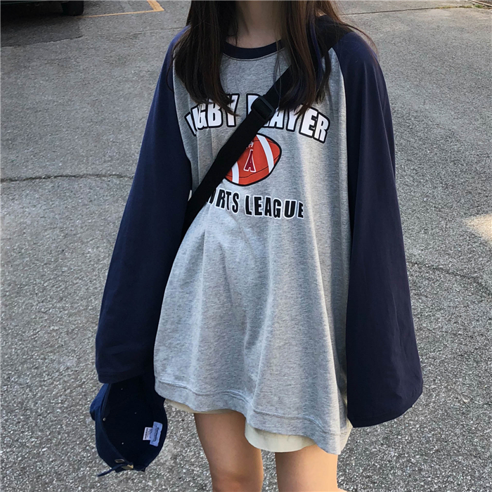 Fashion T-shirt Femme 2019 Autumn Womens Long Sleeve Tops Harajuku Vintage Patchwork Sleeve T-shirts Female Loose Tee Shirts