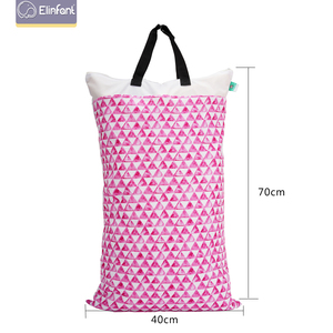Elinfant 1 pcs Large Hanging Wet/Dry Pail Bag for Cloth Diaper,Inserts,Nappy, Laundry With Two Zippered Waterproof diaper bag