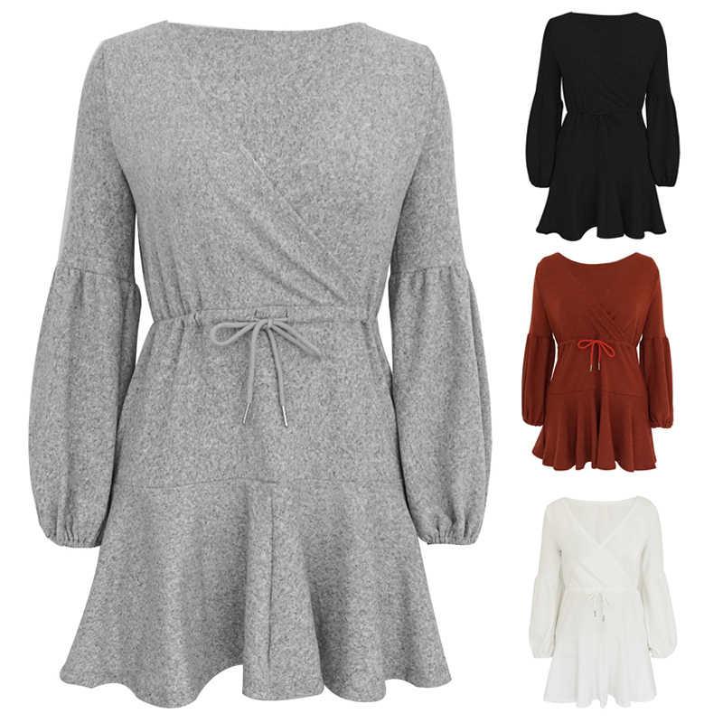 Simple Casual linterna de manga larga de las mujeres Mini vestido de otoño ropa nuevo Sexy cuello pico vestido plisado encaje para las mujeres