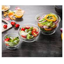 Double Layer Heat-resistant High Borosilicate Glass Bowl Salad Bowl Microwave Tableware Ice Cream Heatproof Salad Dinnerware(China)