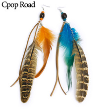 Cpop Long Vintage Boho Feather Earring for Women Ethnic Beads Leather Tassel Jewelry Accessories Hot Sale Gift Wholesale