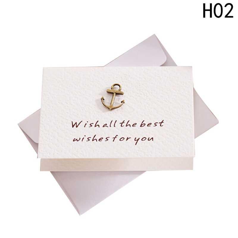 2 יח'\סט Creative מעטפה קטן כרטיס ברכה יום הולדת מתנה כרטיס מתכת תלת ממדי תודה לך כרטיס מכתבים סט