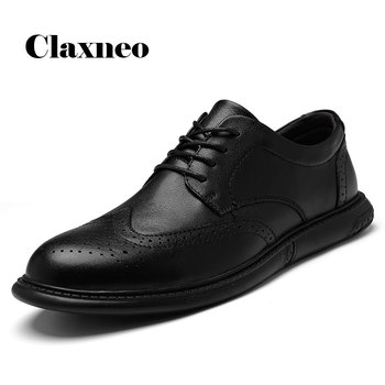 CLAXNEO Man Shoes Design Brogue Shoe 2020 Spring Autumn Male Leather Footwear clax Men's Walking Shoe Derby Wedding Oxfords clax mens brogue shoes genuine leather spring autumn men s casual leather shoe british dress footwear designer wedding shoe soft