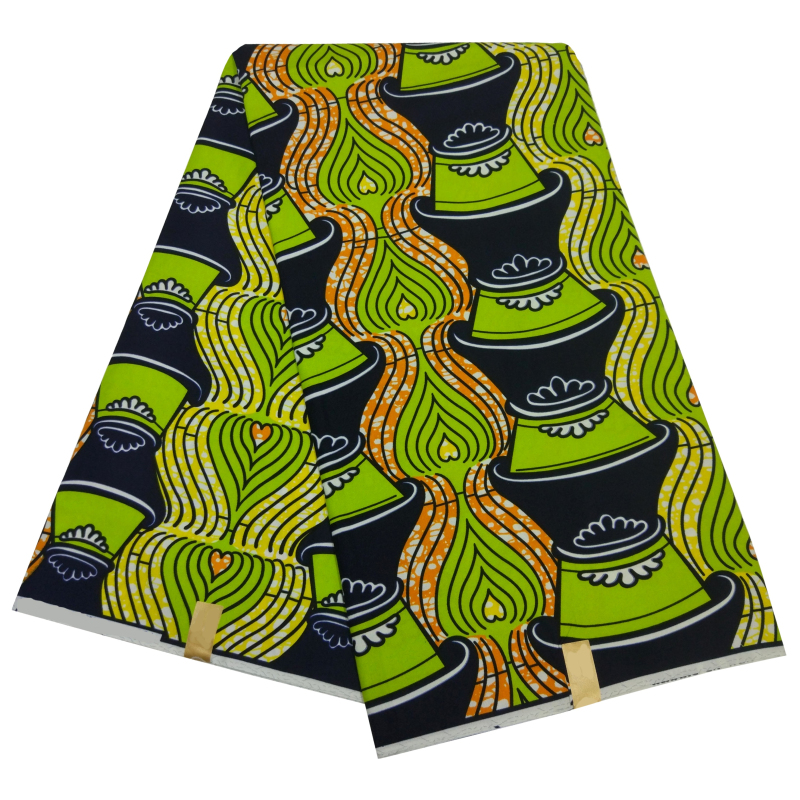 African Nigeria Ankara Fashion Nederlands High Quality Real Dutch Veritable Wax Tela Estampadas Verdes Fabric For Wedding 6Yards