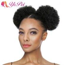 6 Inch Korte Afro Bladerdeeg Trekkoord Paardenstaart Human Hair Krullend Clip In Extensions Haar Broodje Chignon Haarstukje Kan Kopen 2 stuks