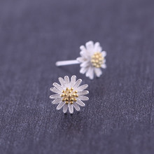 Silver 925 Jewelry Popular Sterling Earrings For Women Fashion Small Fresh Daisy Sunflower Temperament