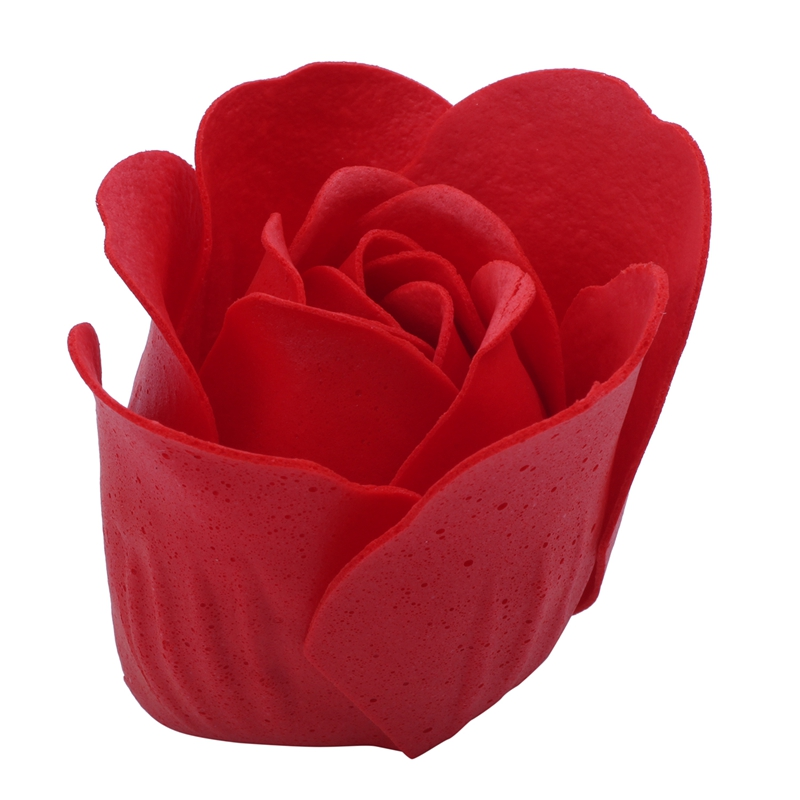 6 Pcs Red Scented Bath Soap Rose Petal In Heart Box