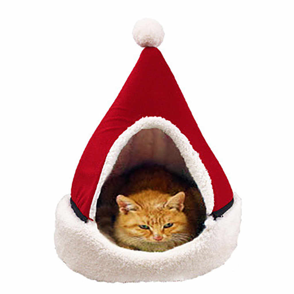 Trwałe łóżko dla zwierząt śliczny kształt choinki dom dla kotów pół zamknięte boże narodzenie ciepłe miękkie zimowe żwirek dla kotów dla zwierząt dobry prezent dla kota 45