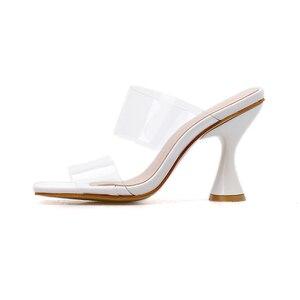 Image 3 - Kcenid 2020 femmes pantoufles sandales tasse haut talon transparent bande slingback bout carré décontracté mode été pantoufles taille 35 42