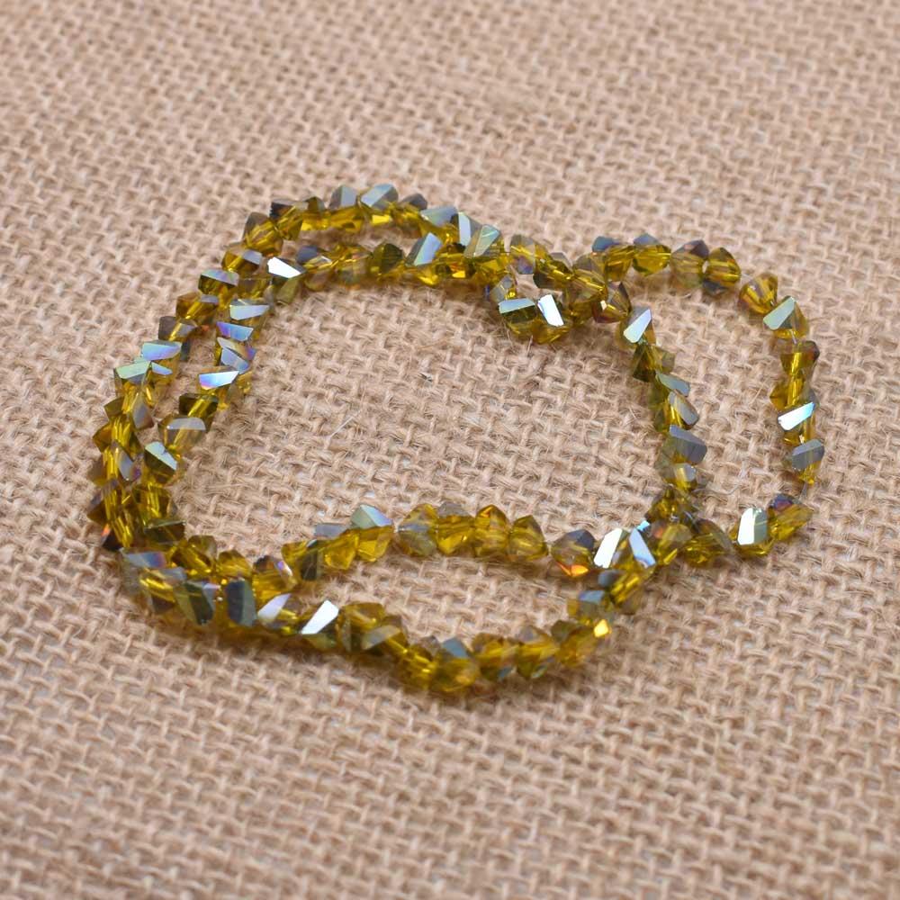 Yanqi блестящие треугольные стеклянные бусины 6 мм 100 шт Хрустальные стеклянные бусины для самостоятельного изготовления ювелирных изделий браслет ручной работы - Цвет: 31--6mm