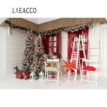 Laeacco Christmas Tree Ladder Decor Wooden Wall Deer Chair Rural Yard Photo Backgrounds Photography Backdrops For Photo Studio kampfer wooden ladder wall