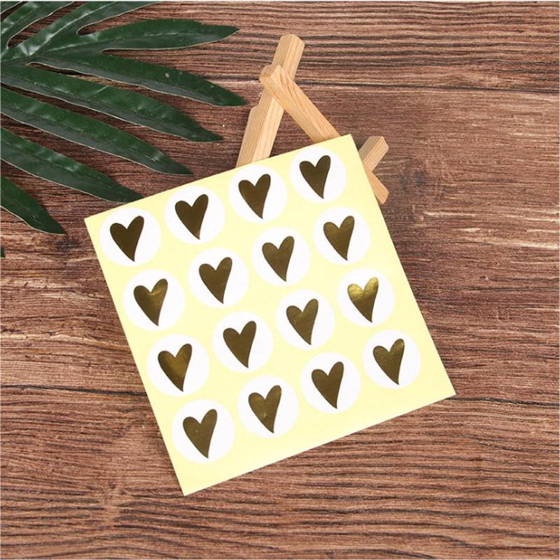 160pcs/Lot Lovely Bronzing Heart Round Handmade Cake Packaging Sealing Label Kraft Sticker Baking DIY Gift Stickers