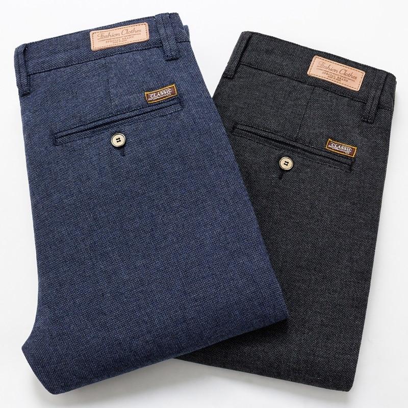 2020 New Men's Pants Slim Casual Pants Full Length Fashion Business Stretch Trousers Male Brand Pants Black Blue Pantalones
