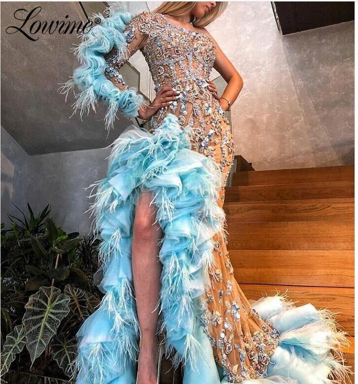 Sukienki z piór kobieta nocna impreza niebieskie sukienki Celebrity 2020 niestandardowe szata De Soiree wysoki niski seksowna sukienka na bal koraliki suknie wieczorowe