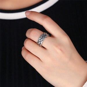 Image 4 - V.YA Große Größe Thai Silber Ring Für Männer Frauen 925 Sterling Silber Ring Weben Form Hochzeitstag Edlen Schmuck