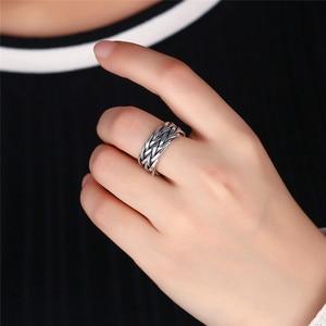 Image 4 - Мужское и женское кольцо с плетением V.YA, серебряное кольцо из тайского стерлингового серебра 925 пробы, Ювелирное Украшение на годовщину свадьбы большого размера