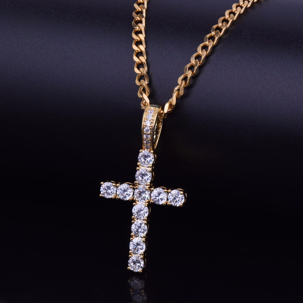 OH Hip Hop Pico Harvey Cross Pendant Necklace Micro Pave AAAA+ Cubic Zirconia Egyptian Style Necklace 24″ 30″ Chain