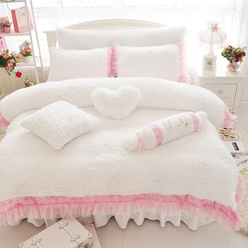 Luxury Plush Shaggy Duvet Cover Set 4/7Pcs Comforter Cover Bedspread Bed Skirt Pillow Shams Ultra Soft Velvet Fur Bedding set