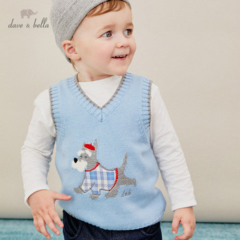 DBH14272 dave bella autumn kids boys handsome plaid cartoon coat children boy fashion sleeveless vest image