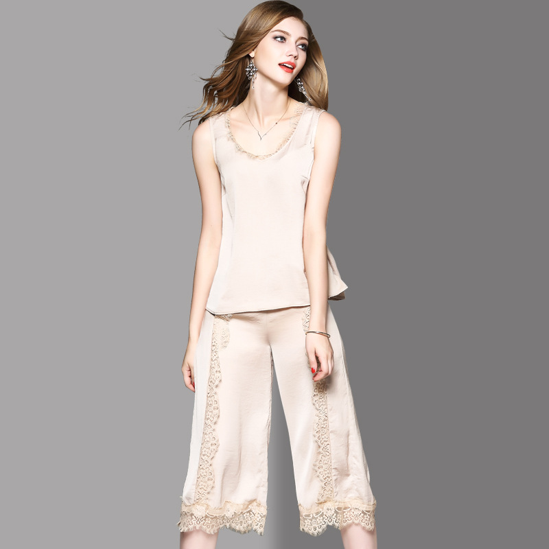 Shenzhen 2019 Spring New Products WOMEN'S Dress Spell Lace Sexy Backless Vest Tops + Loose Pants Set 72952