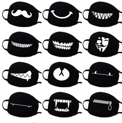 10pcs Women Men Anti Dust Mouth Mask Cute ExpressionTeeth Smile Bear Mask Respirator Creative Cotton Cool Travel Mask Decorative