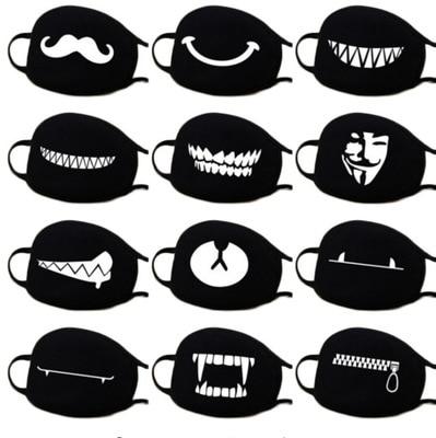 10pcs Women Men Anti Dust Mouth Mask Cute ExpressionTeeth Smile Bear Mask Respirator Creative Cotton Cool Travel Mask Decorative