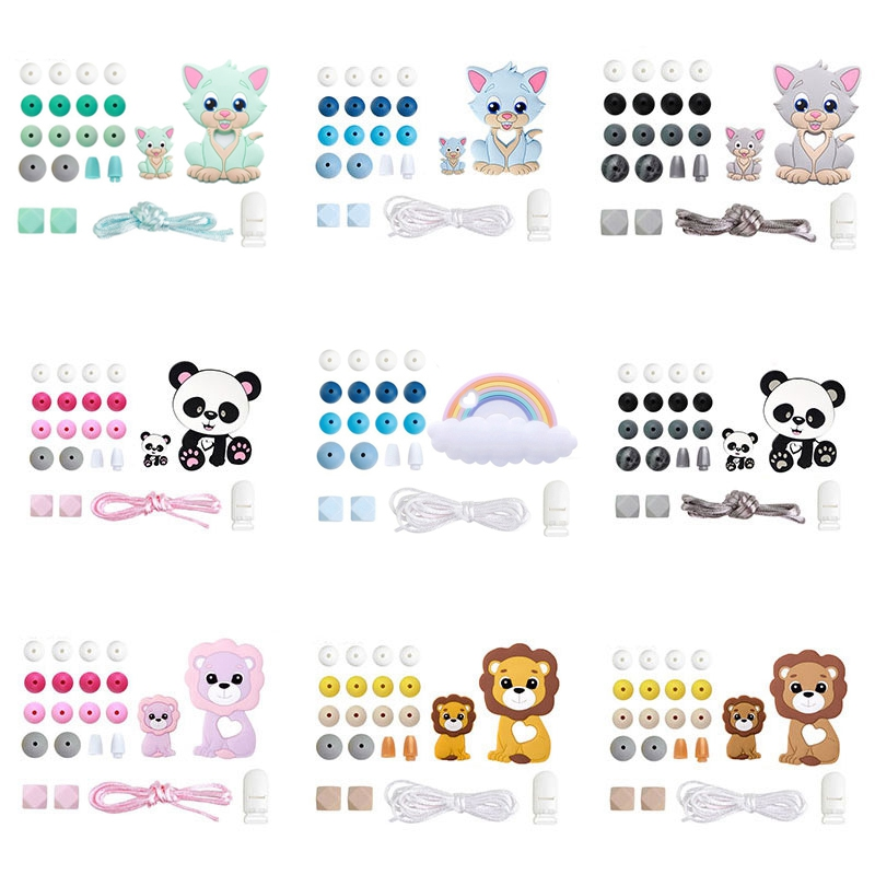 Bopoobo 1Set Silicone Beads Food Grade Baby Teething Wooden Rodent BPA Free DIY Accessories Pacifier Chain Clips Baby Teether