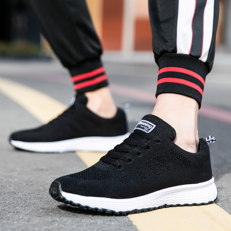 2019 Unisex Running Shoes Autumn And Winter Flat Men Shoes Mesh Female Footwear Outdoor Jogging Women's Sports Shoes Sneakers 42