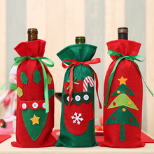 Christmas Red Wine Bottle Cover Bags Home Decoration Storage New Year Gift Santa Claus Presents Stocking