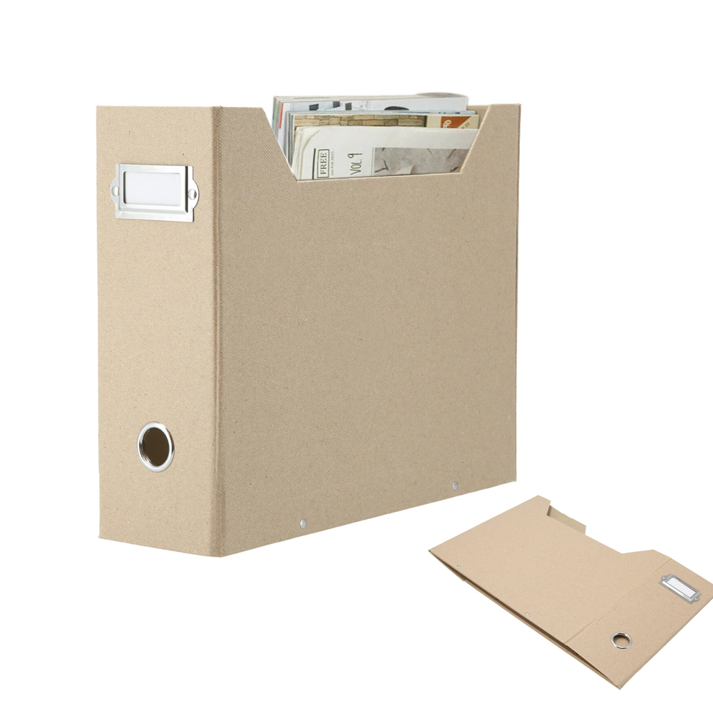 Foldaway Magazine Organizer A4 Suspension File Holder Office News Paper Storage Box Beige Natural Paper (5PCS)