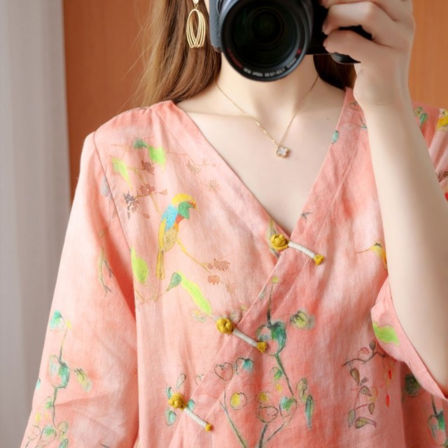 Oversized Women Cotton Linen Blouses Shirts New 2020 Summer Vintage Style V-neck Floral Print Female Loose Casual Tops S1668 5