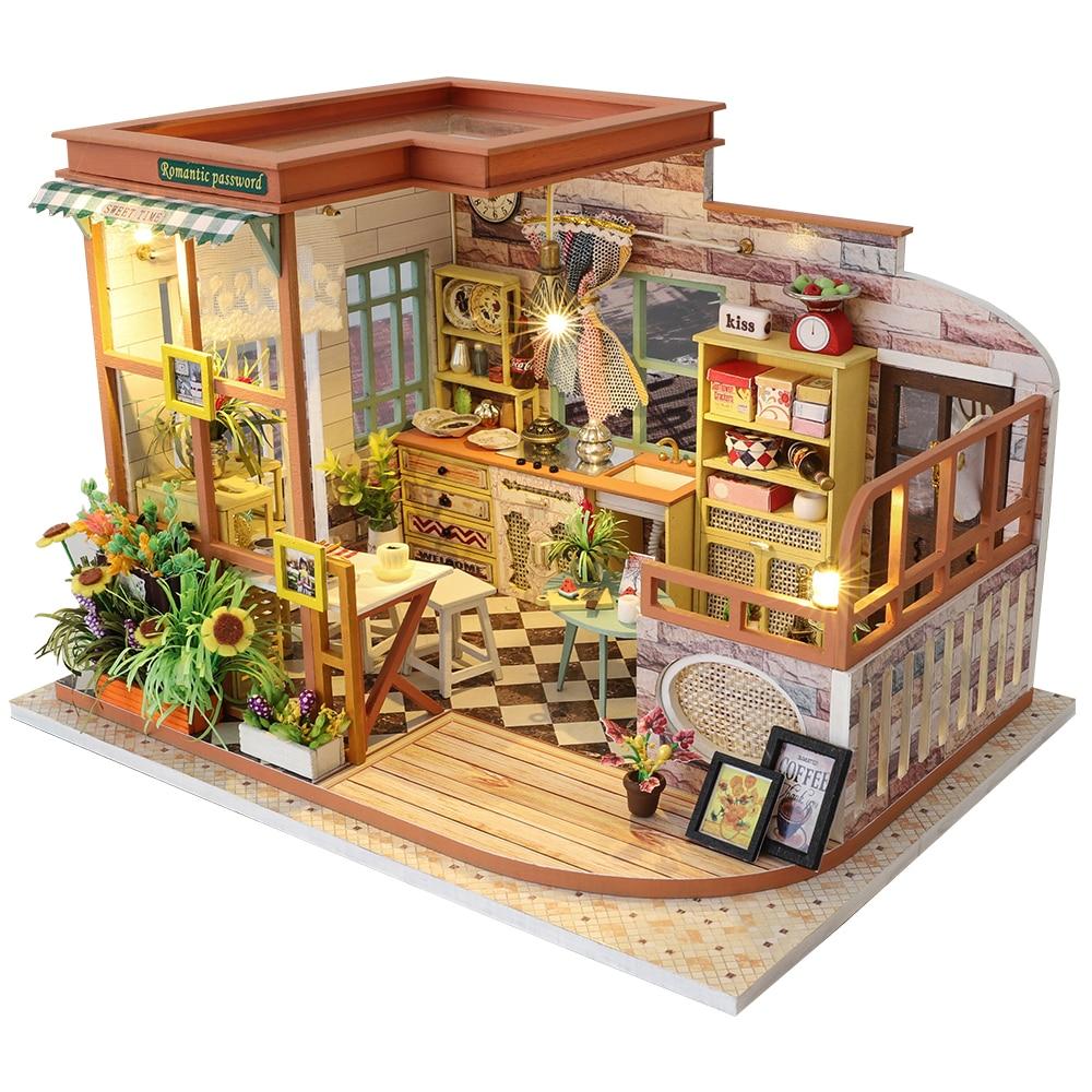 Cutebee Casa Doll House Furniture Miniature Dollhouse DIY Miniature House Room Box Theatre Toys For Children Casa Dollhouse S02A