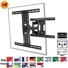 New NB P6 Full Motion 45-75 inch TV Wall Mount  Flat Panel LED LCD Display Mount Bracket MAX.VESA 600x400mm Load 45.5kgs