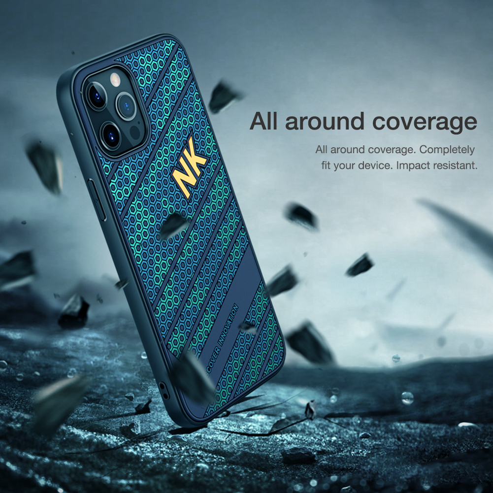Smooth Shockproof Silicone PC Back Cover 3D Honeycomb Texture Case for iPhone 12 Pro