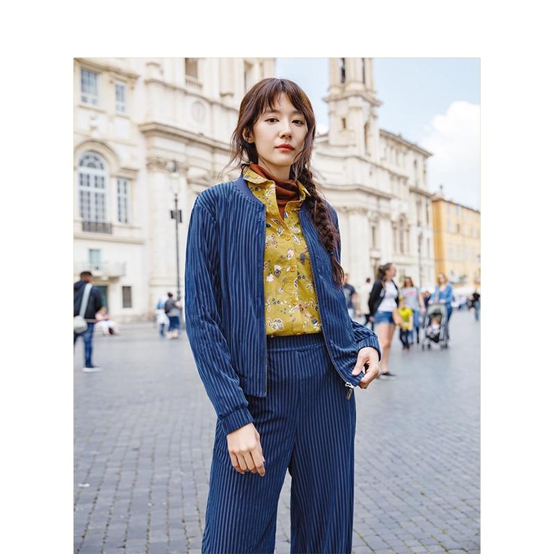 INAMN Spring Autumn Spandex Women Solid Color Long Pants Zipper Basic Coat Suit