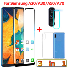 3-in-1 Tempered Glass for Samsung Galaxy A50 A70 A20 A30 Camera Samsung-A20 Screen Protector