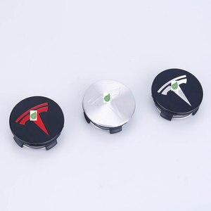 Image 3 - Para tesla model 3 s x roda de aço inoxidável centro tampões hub capa logotipo emblema 4 peças