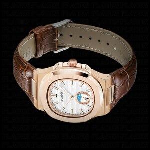 Image 5 - PLADEN Unique Mens Luxury Big Brand Watch Chronograph Moon Phase Male Watch Golden Swim Geneva Watches Zegarek Meski #PL1009
