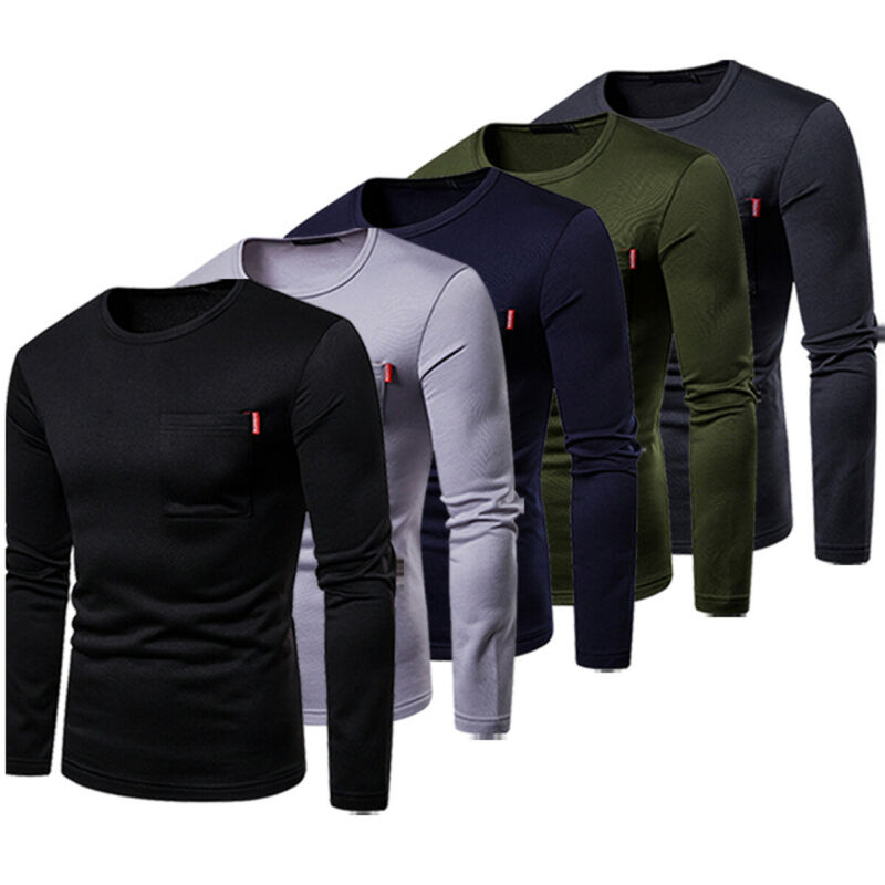 Men's Cotton Lightweight Crewneck Sweatshirt Autumn Men's Warm Sweatshirt Men Long Sleeve Slim Fit Pullover Shirts Basic Tee