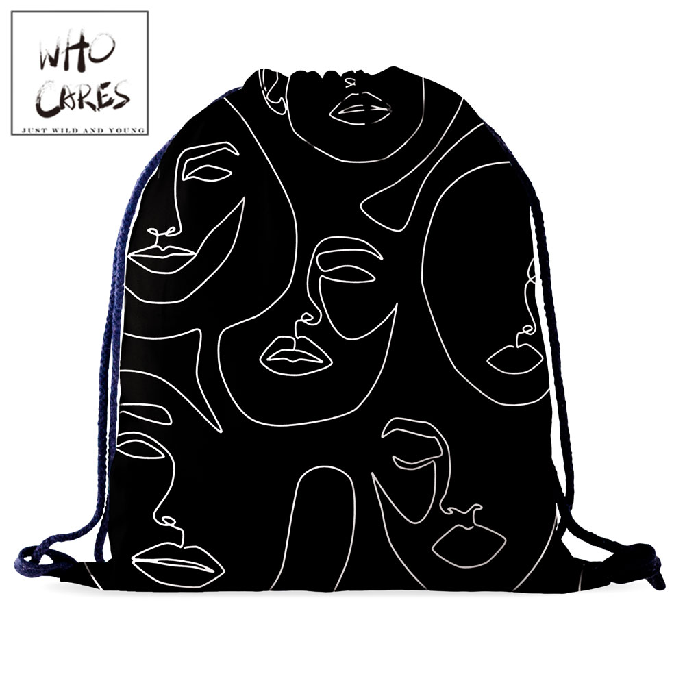 Who Cares Black Drawsting Bag Simple Art Facebook 3D Printing Portable Shopping Bags Fashion Gym Backpack Women