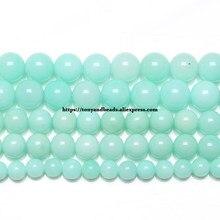 Amazonita-Cuentas redondas de piedra Natural, jade de Color, 6, 8 y 10 MM, tamaño a elegir, fabricación de joyas