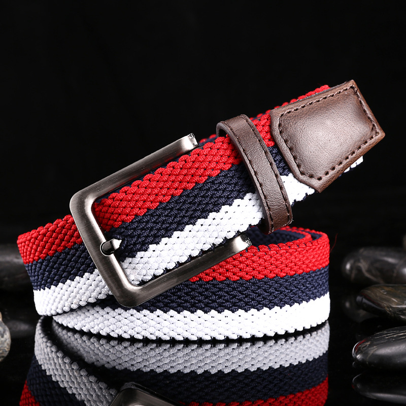 New Belts Double Layer High Stretch Woven Elastic Canvas Fashion Belt Men and Women Pin Buckle Waistband Unisex Jeans Trouser